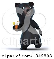 Poster, Art Print Of 3d Happy Black Bear Walking And Holding A Beverage