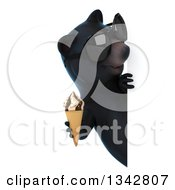 Clipart Of A 3d Happy Black Bear Wearing Sunglasses Holding A Waffle Ice Cream Cone And Looking Around A Sign Royalty Free Illustration by Julos