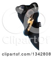 Clipart Of A 3d Happy Black Bear Wearing Sunglasses And Eating A Waffle Ice Cream Cone Around A Sign Royalty Free Illustration by Julos