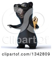 Clipart Of A 3d Happy Black Bear Wearing Sunglasses Facing Slightly Left Pointing And Holding A Waffle Ice Cream Cone Royalty Free Illustration by Julos