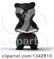 Clipart Of A 3d Bespectacled Happy Black Bear Reading A Book Royalty Free Illustration by Julos