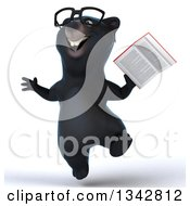 Clipart Of A 3d Bespectacled Happy Black Bear Jumping And Holding A Book Royalty Free Illustration by Julos