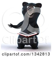 Clipart Of A 3d Happy Black Bear Presenting And Reading A Book Royalty Free Illustration by Julos