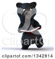 Clipart Of A 3d Happy Black Bear Walking And Reading A Book Royalty Free Illustration by Julos