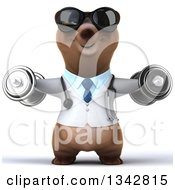 Clipart Of A 3d Happy Brown Bear Doctor Or Veterinarian Wearing Sunglasses Working Out Doing Lateral Raises With Dumbbells Royalty Free Illustration by Julos