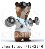 Clipart Of A 3d Happy Brown Bear Doctor Or Veterinarian Wearing Sunglasses Working Out Facing Slightly Right Doing Lateral Raises With Dumbbells Royalty Free Illustration by Julos