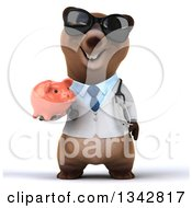 Clipart Of A 3d Happy Brown Bear Doctor Or Veterinarian Wearing Sunglasses And Holding A Piggy Bank Royalty Free Illustration
