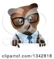 Clipart Of A 3d Happy Bespectacled Brown Bear Doctor Or Veterinarian Pointing Down Over A Sign Royalty Free Illustration