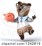Clipart Of A 3d Happy Bespectacled Brown Bear Doctor Or Veterinarian Holding A Piggy Bank And Jumping Royalty Free Illustration