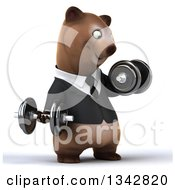 Clipart Of A 3d Happy Brown Business Bear Working Out Facing Slightly Right Doing Bicep Curls With Dumbbells Royalty Free Illustration