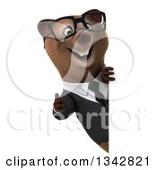 Clipart Of A 3d Bespectacled Happy Brown Business Bear Giving A Thumb Up Around A Sign Royalty Free Illustration
