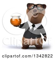 Clipart Of A 3d Bespectacled Brown Business Bear Holding A Honey Jar Royalty Free Illustration