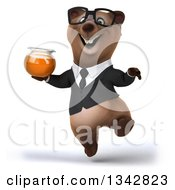 Clipart Of A 3d Bespectacled Brown Business Bear Holding A Honey Jar And Jumping Royalty Free Illustration