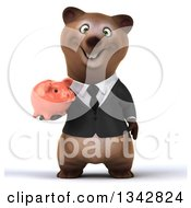 Clipart Of A 3d Happy Brown Business Bear Holding A Piggy Bank Royalty Free Illustration by Julos