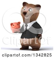 Clipart Of A 3d Happy Brown Business Bear Facing Slightly Left And Holding A Piggy Bank Royalty Free Illustration