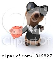 Clipart Of A 3d Brown Business Bear Wearing Sunglasses Holding Up A Thumb Down And A Piggy Bank Royalty Free Illustration