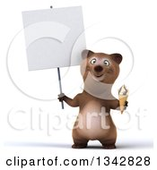 Clipart Of A 3d Happy Brown Bear Holding A Blank Sign And A Waffle Ice Cream Cone Royalty Free Illustration