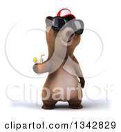 Poster, Art Print Of 3d Happy Brown Bear Wearing A Baseball Cap And Sunglasses Holding Out A Beverage