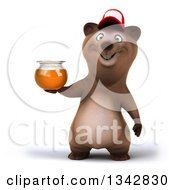 Clipart Of A 3d Happy Brown Bear Wearing A Baseball Cap And Holding A Honey Jar Royalty Free Illustration