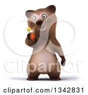 Poster, Art Print Of 3d Happy Brown Bear Drinking A Beverage