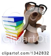 Clipart Of A 3d Bespectacled Brown Bear Holding Up A Thumb Down And A Stack Of Books Royalty Free Illustration
