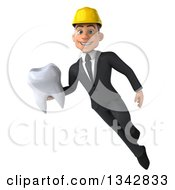 Clipart Of A 3d Young White Male Architect Holding A Tooth And Flying Royalty Free Illustration