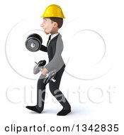 Clipart Of A 3d Young White Male Architect Working Out Walking To The Left With Dumbbells Royalty Free Illustration