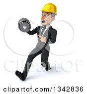 Clipart Of A 3d Young White Male Architect Working Out Walking To Slightly To The Left Holding And Pointing To A Dumbbell Royalty Free Illustration