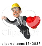 Clipart Of A 3d Young White Male Architect Holding A Red Love Heart And Flying Royalty Free Illustration