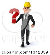 Clipart Of A 3d Young White Male Architect Holding A Question Mark And Walking Royalty Free Illustration