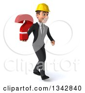 Clipart Of A 3d Young White Male Architect Holding A Question Mark And Walking Slightly To The Right Royalty Free Illustration