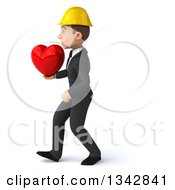 Clipart Of A 3d Young White Male Architect Holding A Red Love Heart And Walking To The Left Royalty Free Illustration