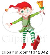 Clipart Of A Happy White Male Christmas Elf Running With A Bell Royalty Free Vector Illustration by Pushkin