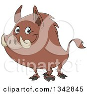 Cartoon Happy Wild Boar Facing Left And Smiling