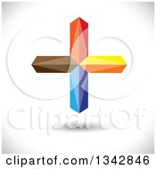 Clipart Of A 3d Floating Colorful Cross Over Shading Royalty Free Vector Illustration by ColorMagic