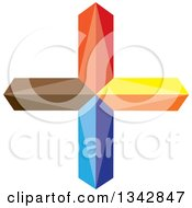 Clipart Of A 3d Colorful Cross Royalty Free Vector Illustration