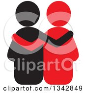 Clipart Of A Black And Red Couple Embracing Royalty Free Vector Illustration by ColorMagic