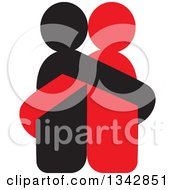 Clipart Of A Red And Black Couple Hugging Royalty Free Vector Illustration by ColorMagic