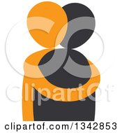 Clipart Of A Black And Orange Couple Hugging Royalty Free Vector Illustration by ColorMagic