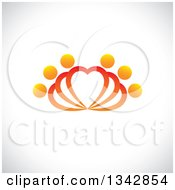 Clipart Of People Forming Fanning Hearts Over Shading Royalty Free Vector Illustration