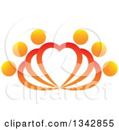 Clipart Of People Forming Fanning Hearts Royalty Free Vector Illustration