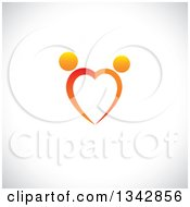 Clipart Of A Gradient Orange Couple Dancing And Forming A Heart Over Shading Royalty Free Vector Illustration