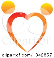 Clipart Of A Gradient Orange Couple Dancing And Forming A Heart Royalty Free Vector Illustration