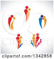 Clipart Of Colorful Abstract Families And Couples Over Shading Royalty Free Vector Illustration