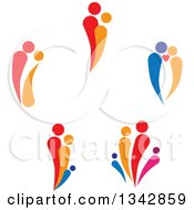 Clipart Of Colorful Abstract Families And Couples Royalty Free Vector Illustration