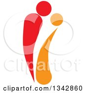 Clipart Of A Red And Orange Abstract Couple Spooning Royalty Free Vector Illustration