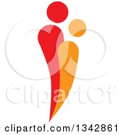 Clipart Of A Red And Orange Abstract Couple Spooning 2 Royalty Free Vector Illustration