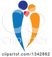 Clipart Of A Blue And Orange Abstract Couple In Love Royalty Free Vector Illustration by ColorMagic