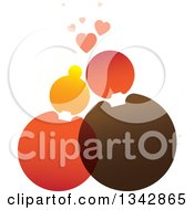 Clipart Of A Cuddling Couple Made Of Circles Under Hearts Royalty Free Vector Illustration by ColorMagic