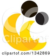 Clipart Of An Abstract Yellow And Black Couple Spooning Royalty Free Vector Illustration
